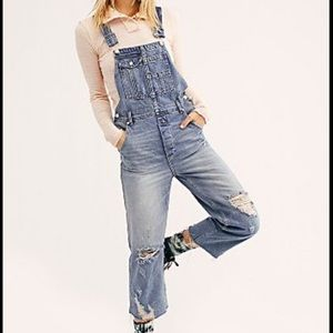 NWOT Free People Baggy Distressed Overalls